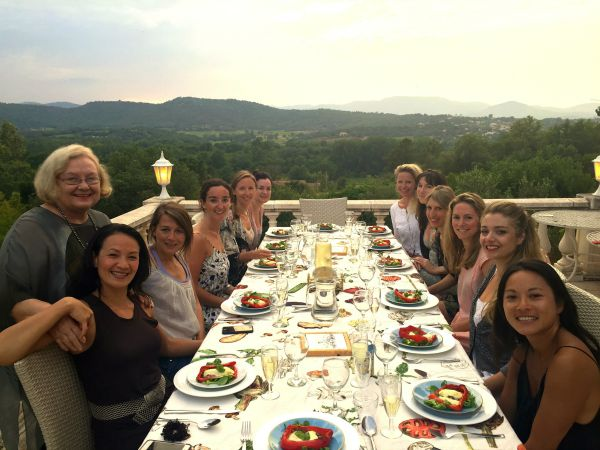 dinner overlooking vineyards