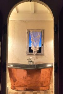 Master ensuite copper bath Provence Saint Tropez holiday rental villa