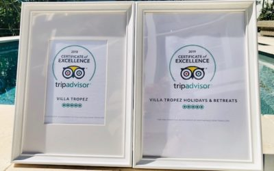 Certificate of Excellence two years in a row, awarded one of the best villa accommodations in St Tropez!